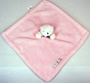Blankets & Beyond Pink White Bear Security Blanket Silver Gray Bow Lovey Nunu