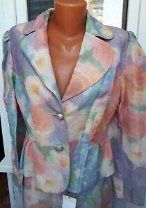 Skirt pelpum suit from Versace linen multicolor
