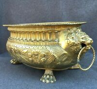 Large antique french jardiniere planter early 1900's brass repousse lion heads