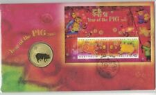 2007 PNC Christmas Island Australia Lunar Year of the Pig with Unc 50c Coin