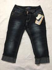 Angels Cropped Jeans Jrs Size 5 Flap Pocket Distressed Stretch Blue Denim NWT
