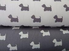 Scottie Dogs Westie Cairn Terrier Dogs Fabric Grey & Ivory 100% Cotton Poplin