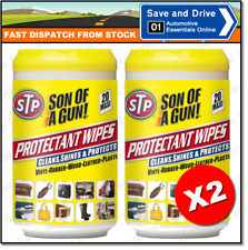 2x STP Son Of A Gun Protectant Car Cleaning Wipes Plastic Gloss Finish 20 Pack