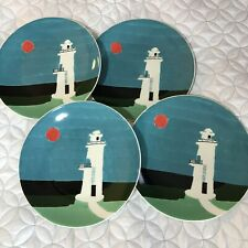 Lot of 4 West Elm LIGHTHOUSE OCEAN PLATES Collector Edition Mizuki Goto RARE NEW