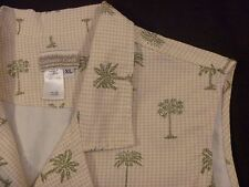 Women's Coldwater Creek Buttoned Tan Checked Vest w/Palm Trees Cotton size XL