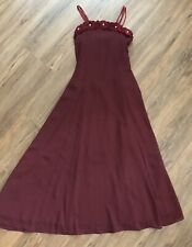 GOOD GIRL Burgundy Formal Dress Long Gown Flowers Pearls Flower Girl Party 14
