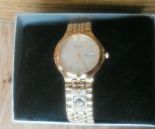 Men Bulova Diamond Watch 97D29 Gold Tone Stainless 3 Extra diamonds Company Gift