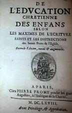"""1668 / LIVRE ANCIEN & RARE EGLISE RELIGION """"EDUCATION CHRETIENNE DES ENFANTS """""""