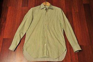 Kiton Green/White Striped Cotton Dress Shirt Size 41/16