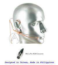 Tan Dual Ear Two Way Miking Headset Mic Beige Microphone for AKG Wireless PT WMS