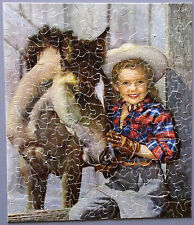 """VINTAGE GUILD JIGSAW PICTURE PUZZLE """"PRINCE AND PRINCESS"""" COWGIRL HORSE COLT CIB"""