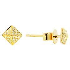 14K YELLOW GOLD PAVE DIAMOND PYRAMID SPIKE SQUARE STUD STUDS EARRINGS
