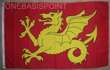 3'x5' WESSEX DRAGON FLAG UK KINGDOM OF WEST SAXONS WYVERN GOLDEN YELLOW RED 3X5