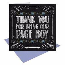Vintage Chalkboard Thank you Page Boy wedding card shabby chic UK Free Post