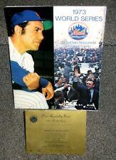 1973 NY METS VS OAKLAND A'S WORLD SERIES GAME 5 SCORED PROGRAM W/ PRESS PASS
