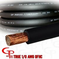 15 ft TRUE AWG 1/0 Gauge COPPER Power Wire BLACK Ground Cable GP Car Audio USA