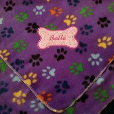 Dog, Cat Fleece Blanket Handcraft Personalized 36x30in med New purple paw print