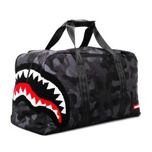 Brand New SPRAYGROUND Chenille Black Camo Shark Duffle Bag