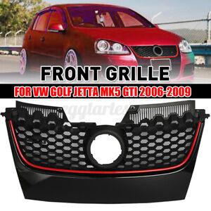 Front Bumper Grille Main Black&Red Trim For VW Golf 5 MK5 V GTI GLI 2006-2009
