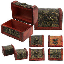 Vintage Small Wooden Lock Jewelry Bracelet Holder Storage Box Case Organizer NE