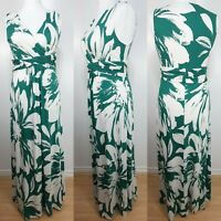 Phase Eight Green White Floral Print Maxi Dress Jersey Stretch Size 16 Holiday