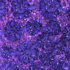 Purple Sequin Taffeta Ribbon rosette Cord 4083 Fabric 58 inches Width By yard