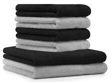 """Lot de 6 serviettes """"Premium"""" 100% coton, couleur noir & gris argenté, 2 draps d"""