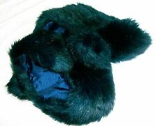 Next Faux Fur Scarf teal dark blue french navy stole furry collar shawl vgc