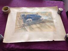 Rare Affiche Poster Geo Ham Amilcar Monthlery Lithographie Prewar Car Raceway
