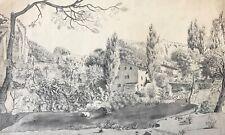 Grand Lavis d'encre et encre Paysage Provence possible vers la Sainte-Baume XIXe