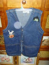 Womens embroidered size M Halloween fall denim vest party tacky fun ghost spooky