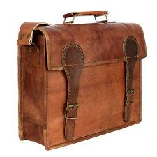 Fair Trade Handmade Large Old School Brown Leather Satchel