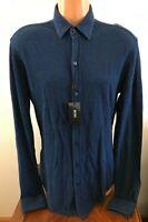 Hugo Boss Mens Long Sleeve Button Down Robbie Shirt Dark Blue Size Medium M