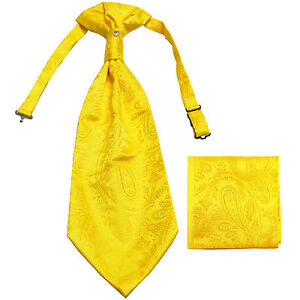 New men's polyester ASCOT cravat neck tie & hankie set Yellow Paisley prom