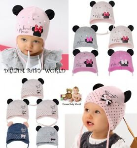 Cotton baby girls hat SPRING size 0 - 12 months GIRL Tie up KIDS Minnie Mouse