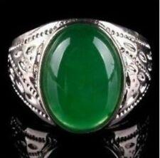 beautiful tibet silver green jade men's ring