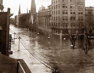 "1913 Flood in Dayton, Ohio Vintage Photograph 8.5"" x 11"" Reprint"