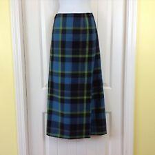 EUC Cato Womens Size 10 Blue Black Green Tartan Flat Front True Wrap Maxi Skirt
