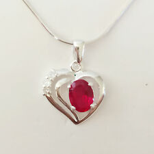 925 Sterling Silver Ruby Red Double Heart Love Charm Pendant & Necklace PD1378A