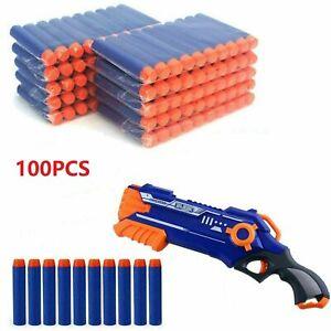 100PCS GUN SOFT REFILL BULLETS TOY DARTS ROUND HEAD BLASTERS FOR NERF N-STRIKE