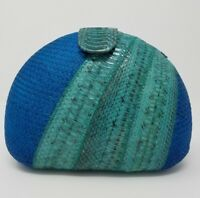 Blue Buntal & Turquoise Genuine Snakeskin Oval Clutch Bag. BRAND NEW!