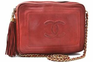 Authentic CHANEL Lamb Skin Chain Shoulder Cross Body Bag Tassel Red CC C6638