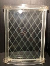 Mid-Century Modern Etched Glass And Lucite Vanity Mirror Tray