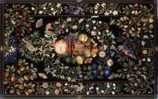 Marble Black Conference Dining Table Top Pietra Dura Inlay Furniture Decor E1676
