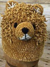 New Day Lee Design San Diego Hat Co Hand Crochet Knit Bear Hat Kids 1-2T