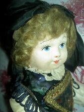 Fine antique, fully jointed French cloth doll, lovely features, original costume