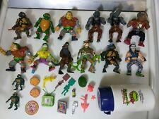 Huge TMNT Lot Vintage Teenage Mutant Ninja Turtles Figures Accessories & Thermos