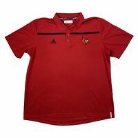 Adidas Climalite Mens Louisville Cardinals Logo Collared Polo Shirt Red Black XL