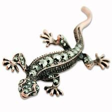 Retro Vintage Bronze Pretty Rhinestone Crystal Gecko Lizard Brooch Pin Jewellery