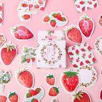 45pcs/box Stationary Strawberry Paper Stickers Decor Diary Scrapbooking  b Top